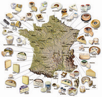 map of France showing cheese production